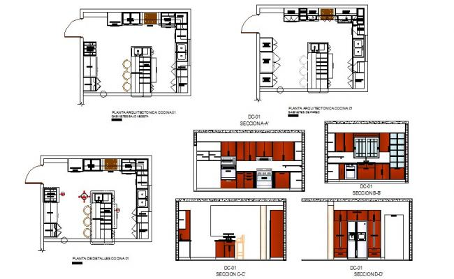 Kitchen Section Plan Interior And Auto Cad Details Dwg File