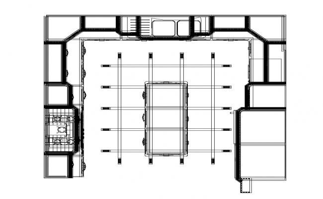 Kitchen structure 2d view layout autocad file