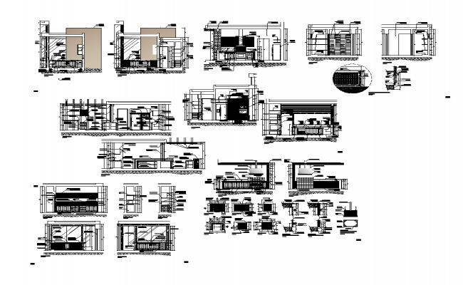 Kitchen structure detail elevation 2d view layout autocad file