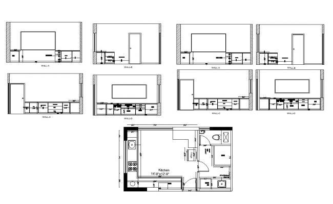 kitchen structure plan 2d view cad constructive block layout dwg file