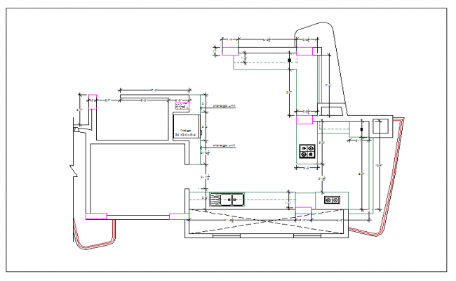 kitchen with store room plan detail dimension dwg file
