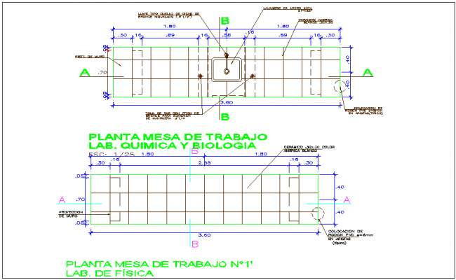 Laboratory table plan with construction detail for collage dwg file