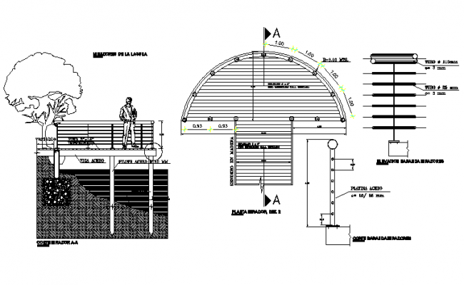 Lagoon viewing section details dwg file