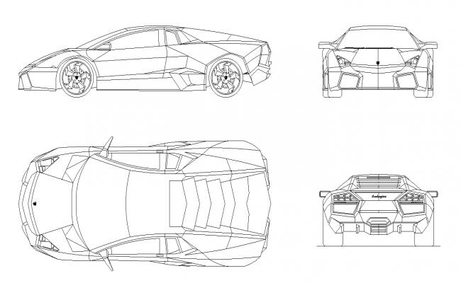 Lamborghini Reventon Car Plan Detail Dwg