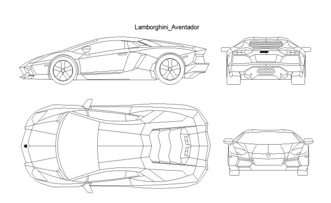 Lamborghini Aventador Car Plan Detail Dwg