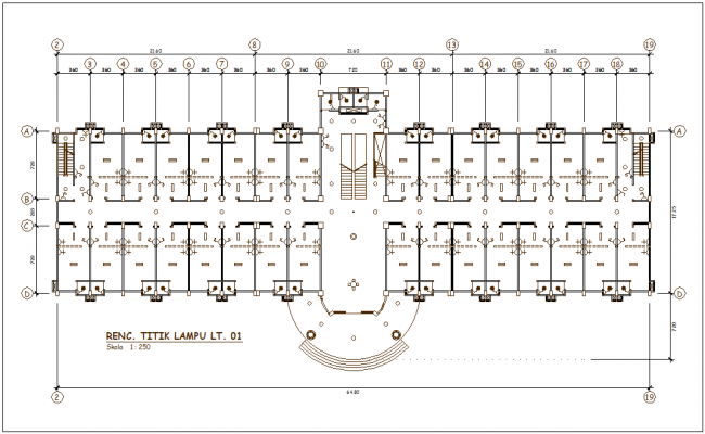 Lamp point of office area plan with electrical view dwg file