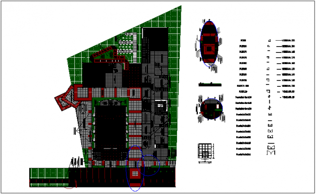 Landscape architectural view of integral center dwg file