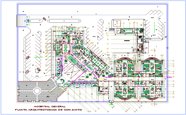 Landscape Design View Of Hospital Dwg File