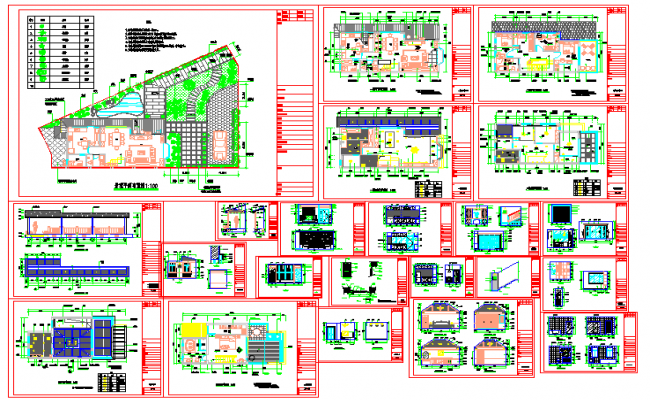 layout & All Bungalows Detail in cad file