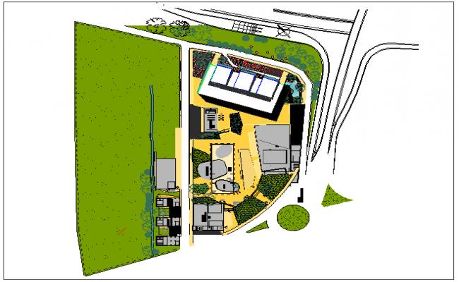Landscape layout plan of office dwg file