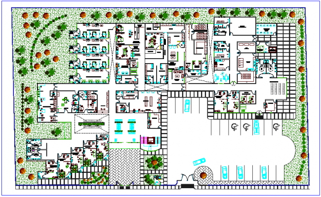 Landscape view general plan of clinic dwg file