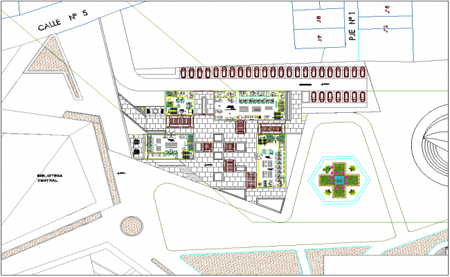 Landscape view of administrative building dwg file