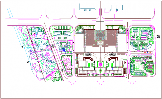 Landscape view of business center dwg file