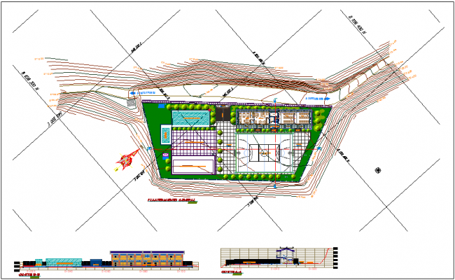Landscape view of collage university with section and elevation view dwg file