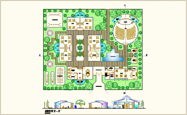 Landscape view of collage with section view dwg file