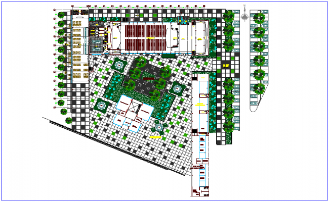 Landscape view of conversions center of university dwg file