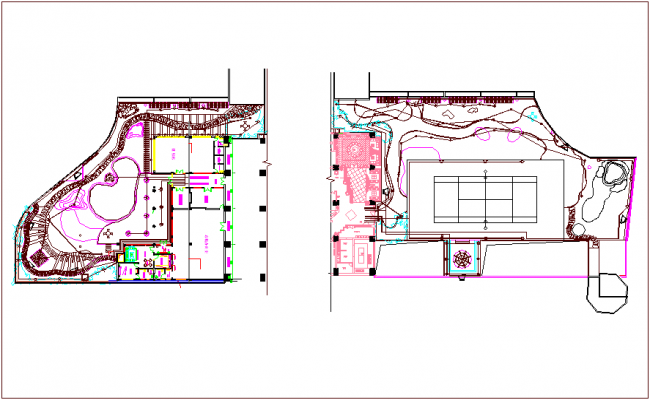 Landscape view of corporate building dwg file