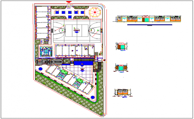 Landscape view of high school with elevation view dwg file