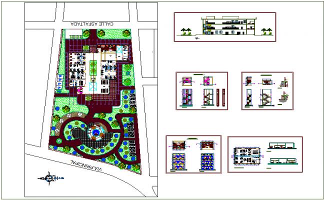Landscape view of municipal office with elevation and section view dwg file