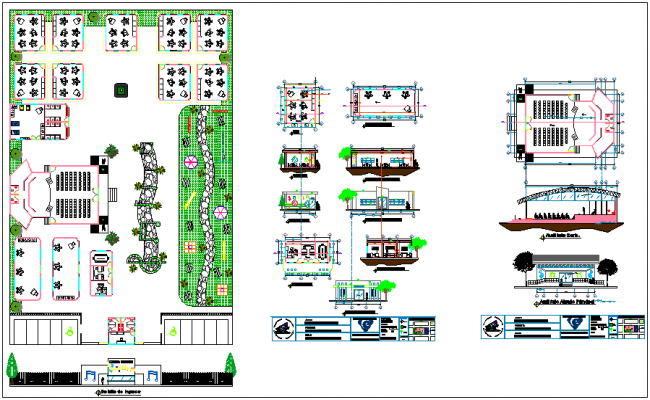 Landscape view of pre school with portion view of school dwg file