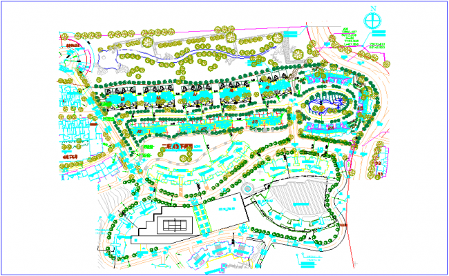 Landscape view of residential block view dwg file