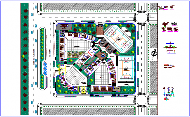 Landscape view of school with construction detail view dwg file