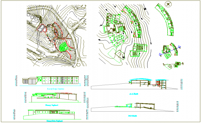 Landscape view of school with sectional view dwg file