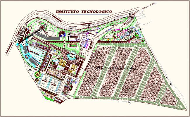 Landscape view of technological education building dwg file