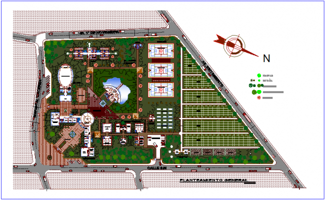 Landscape view of youth development center dwg file