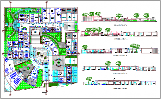 Landscape view with elevation and section view of clinic dwg file