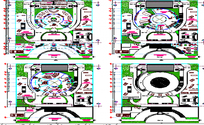 Landscaping View and Site Plan of Club House Design dwg file