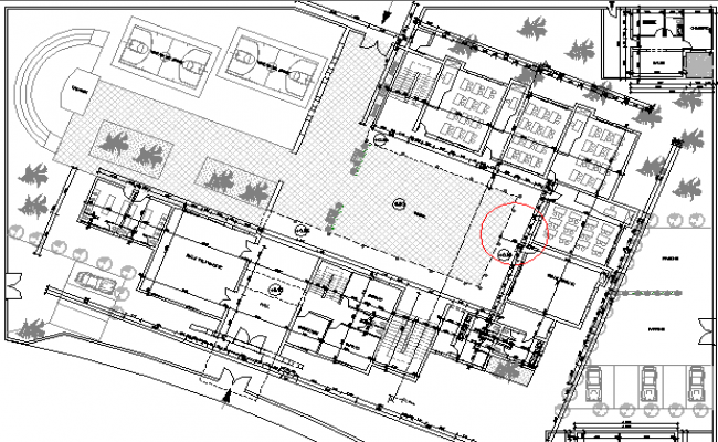 Landscaping and Layout Plan of Multi-Flooring School Architecture Design dwg file