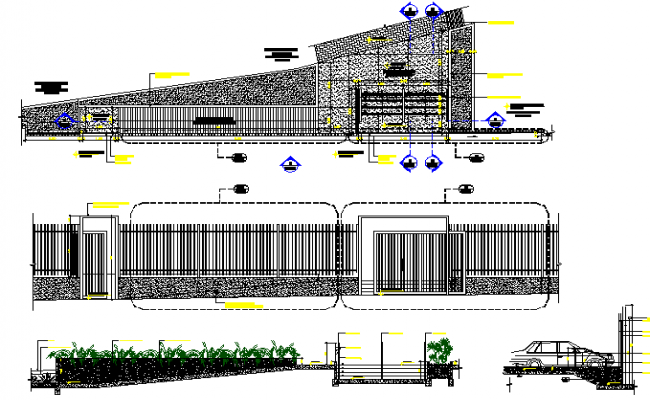 Landscaping and elevation view of single family bungalow dwg file