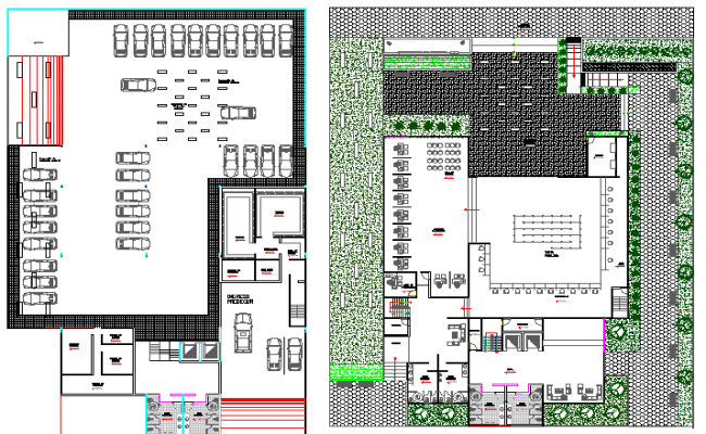 Landscaping and ground floor layout plan details of bank building dwg file