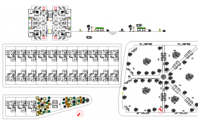 Landscaping and office building plan detail dwg file