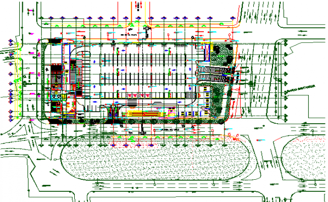 Landscaping and site plan details of corporate building dwg file
