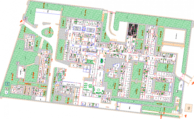 Landscaping and site plan of general hospital dwg file