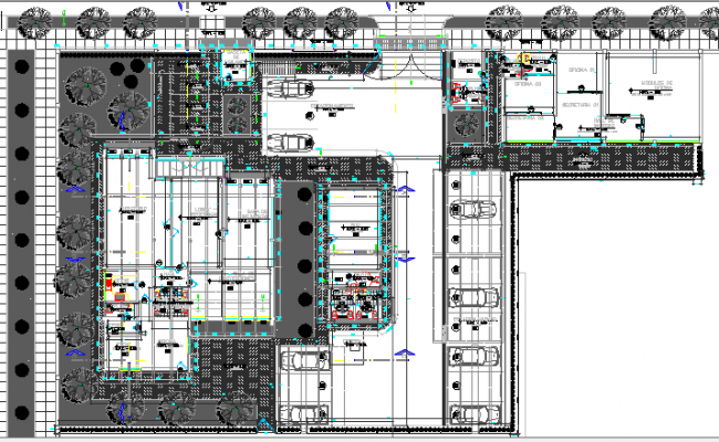 Landscaping and structure details of corporate office dwg file
