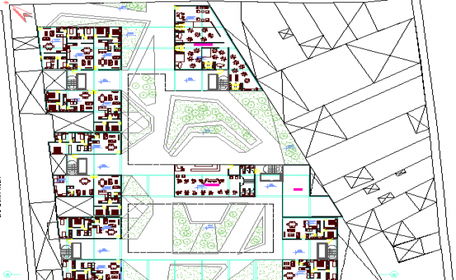 Landscaping and structure details of housing building dwg file