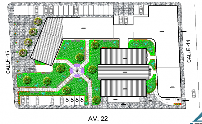 Landscaping commercial building detail dwg file