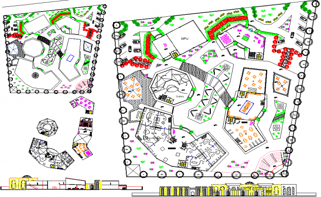 Landscaping detail and commercial layout plan detail dwg file