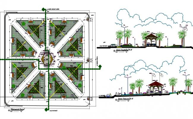 Landscaping details of army community park dwg file