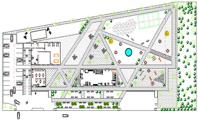 Landscaping details of city community public park dwg file