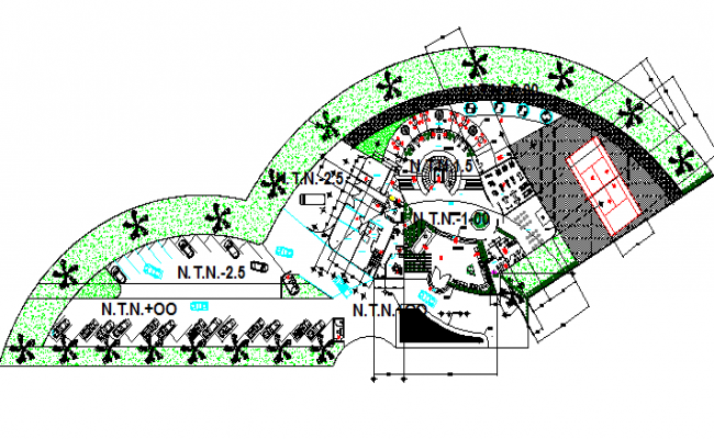 Landscaping details of city shopping market dwg file