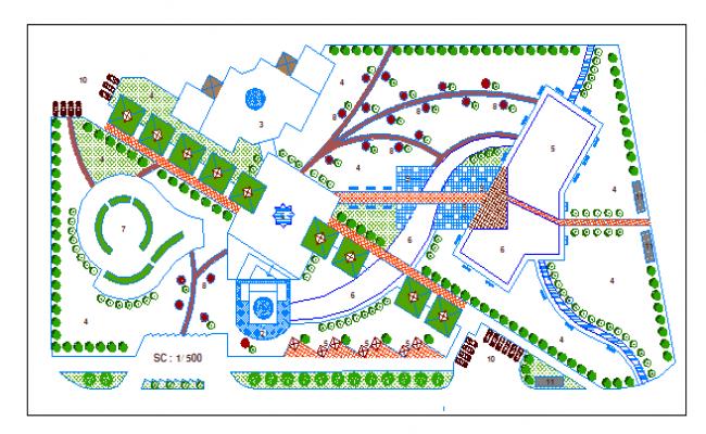Landscaping details of community park dwg file