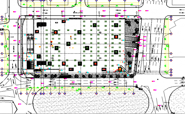 Landscaping details of corporate building dwg file