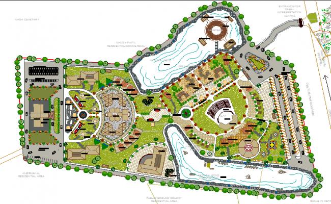 Landscaping details of five star regional hotel dwg file