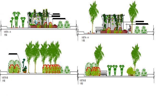 Landscaping details of garden with road details dwg file