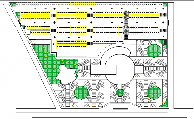 Landscaping details of government office building dwg file
