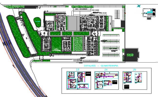 Landscaping details of housing with structure building dwg file
